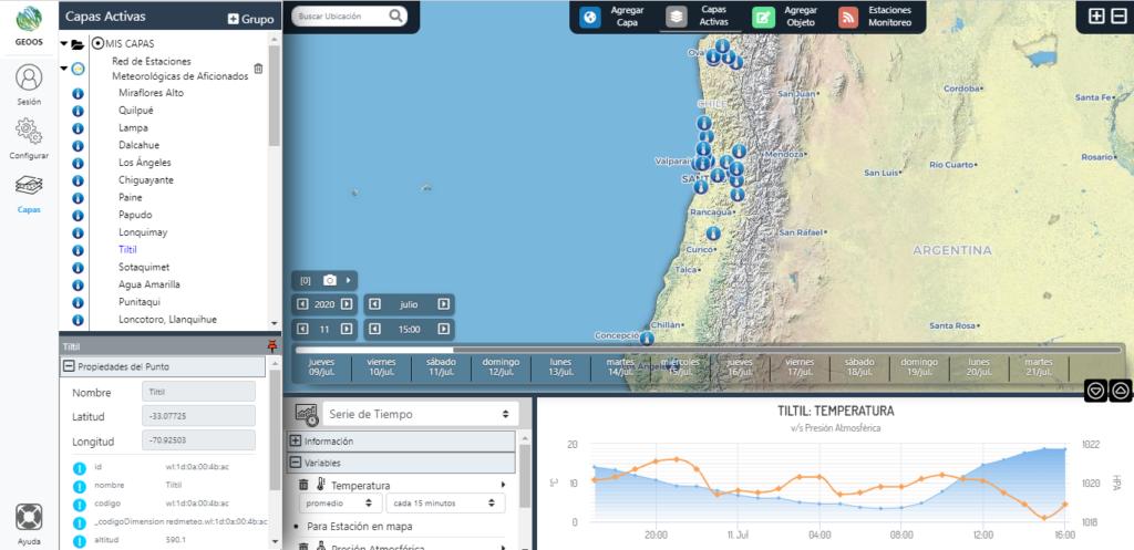 Captura de Pantalla de GEOOS.org, con la Estación Tiltil de Redmeteo.cl